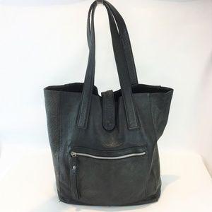 Leather Bucket Tote Bag Dark Green Black Mottled
